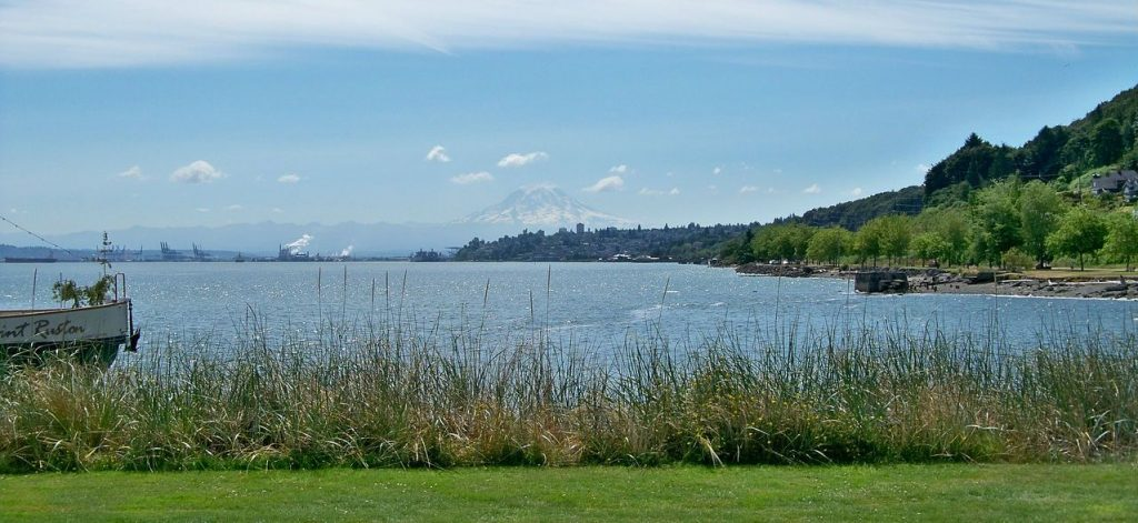 Tacoma city in the distance with a mountain