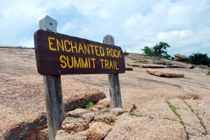 Enchanted Rock Summit Trail sign in Texas