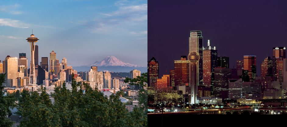 Seattle and Texas
